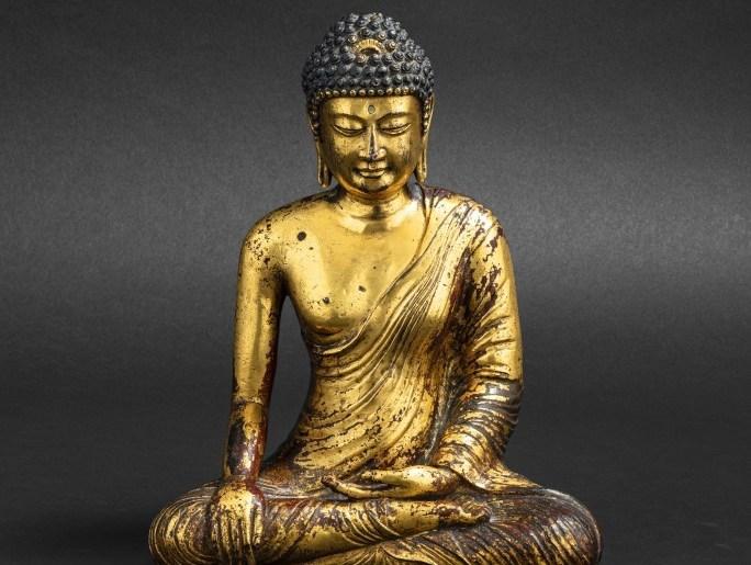 Bouddha Maravijaya en alliage de cuivre doré, royaume de Dali