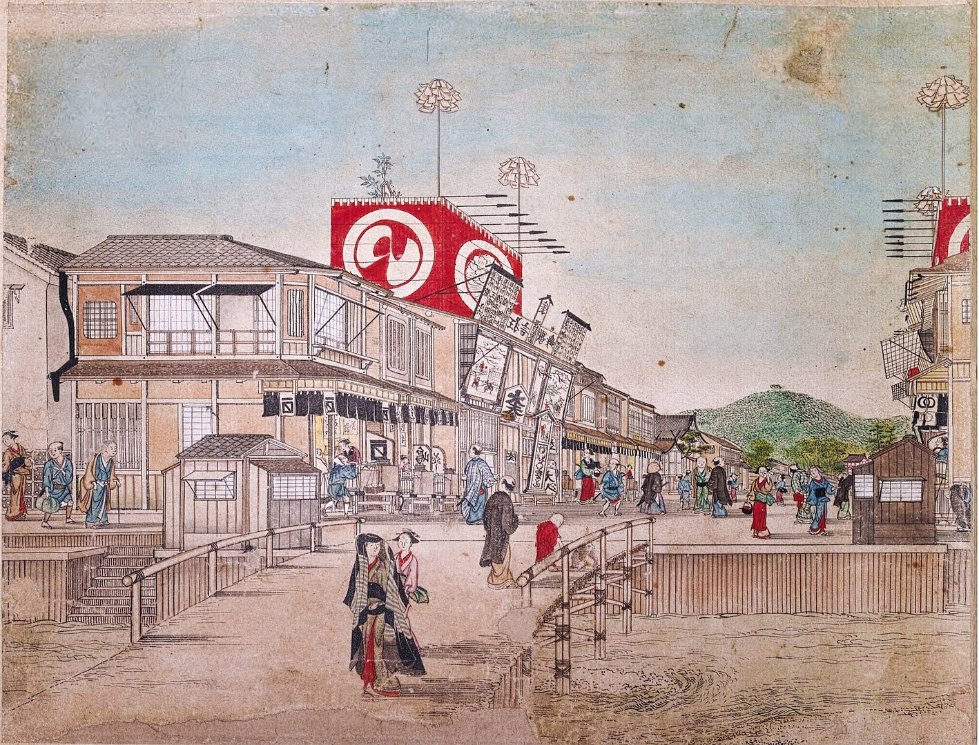 Theatre de Kabuki dans la rue Sijō, 1759. xylographie coloriée, Maruyama