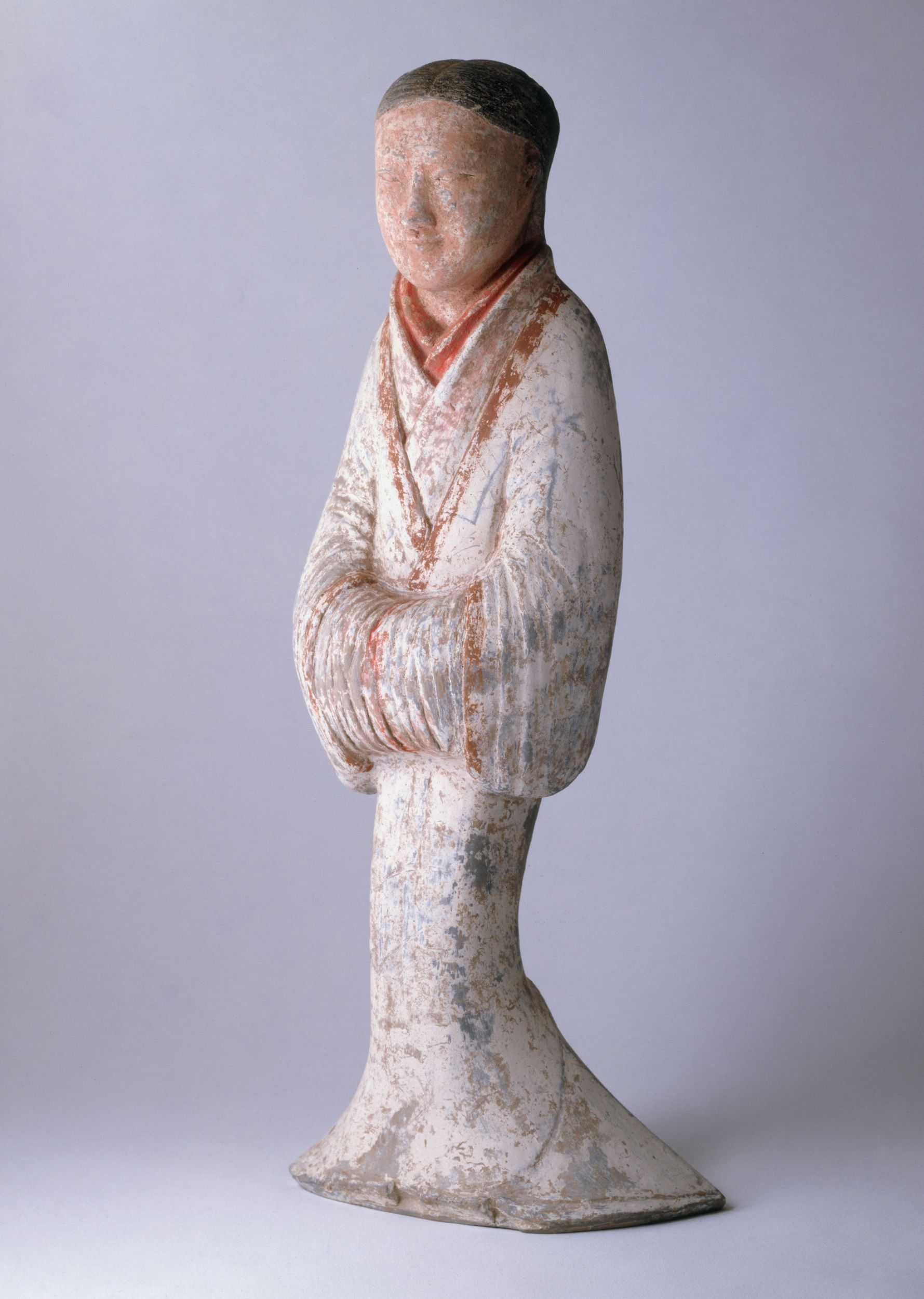 Dame, terre cuite, engobe, couleurs, pigments, entre - 206 et 900, dynastie Han