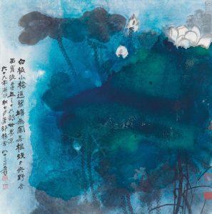 Rouleau de lotus couleur éclaboussé, encre et couleur sur papier, Zhang Daqian (1899-1983)