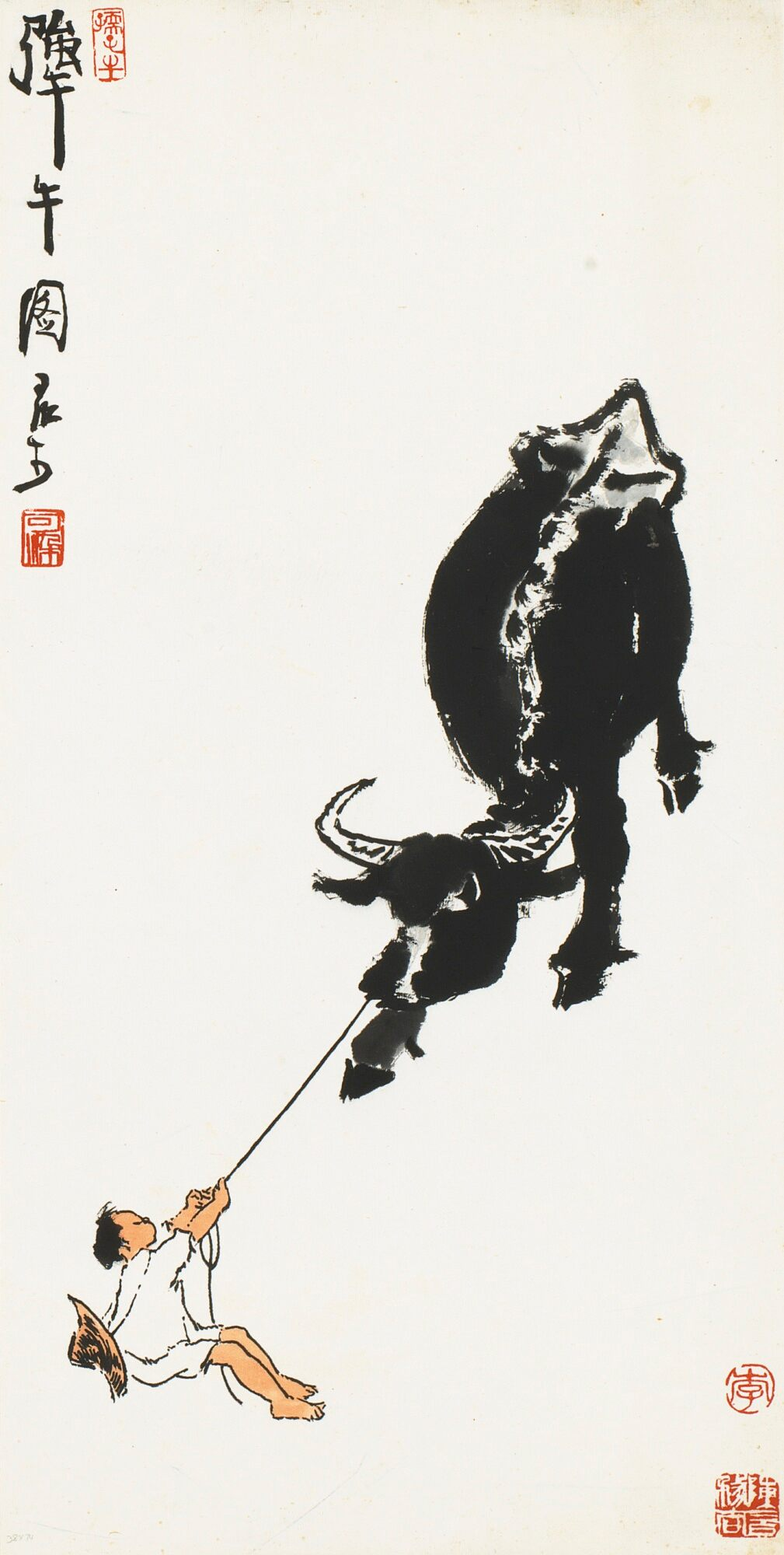 Bouvier et buffle, encre et couleur sur papier, rouleau suspendu, Li Keran (1907-1989)
