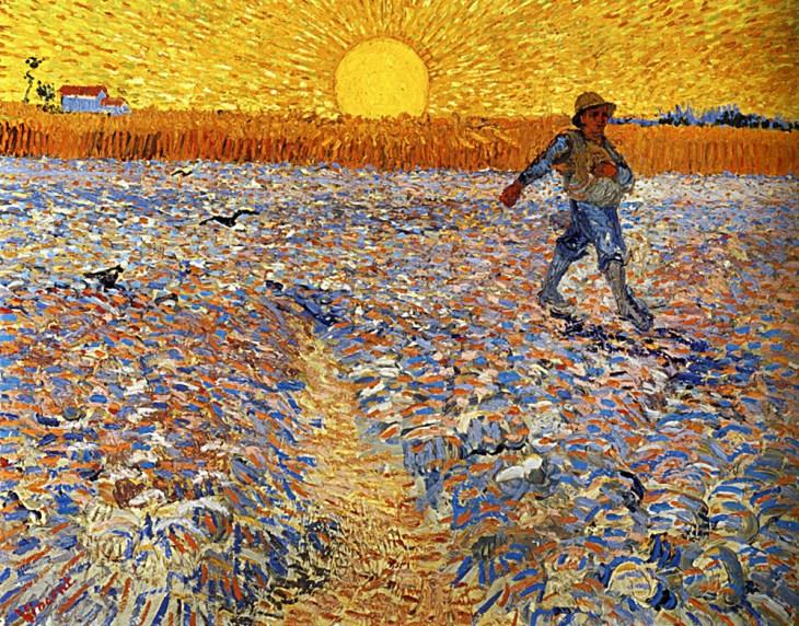 Le Semeur au soleil couchant, Arles, juin 1888. huile sur toile, Van Gogh