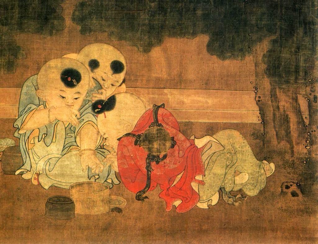 Des enfants jouent dans une cour d'automne, Su Hanchen, dynastie Song