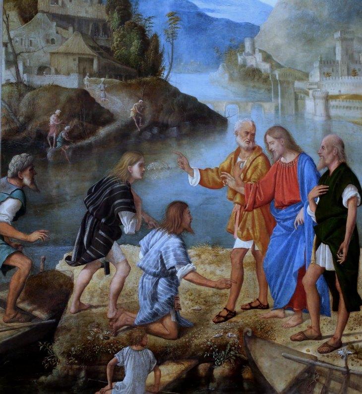 Vocation des fils de Zébédée, détail, 1515, huile sur panneau de bois, Marco Basaiti, 1470-1530, Venise