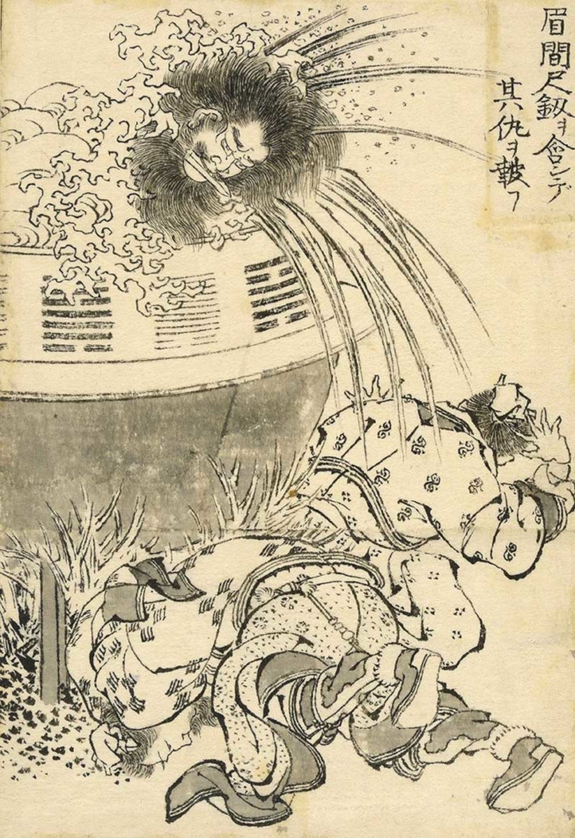 Mei Jianchi se venge de ses ennemis avec une épée, 1829, Hokusai