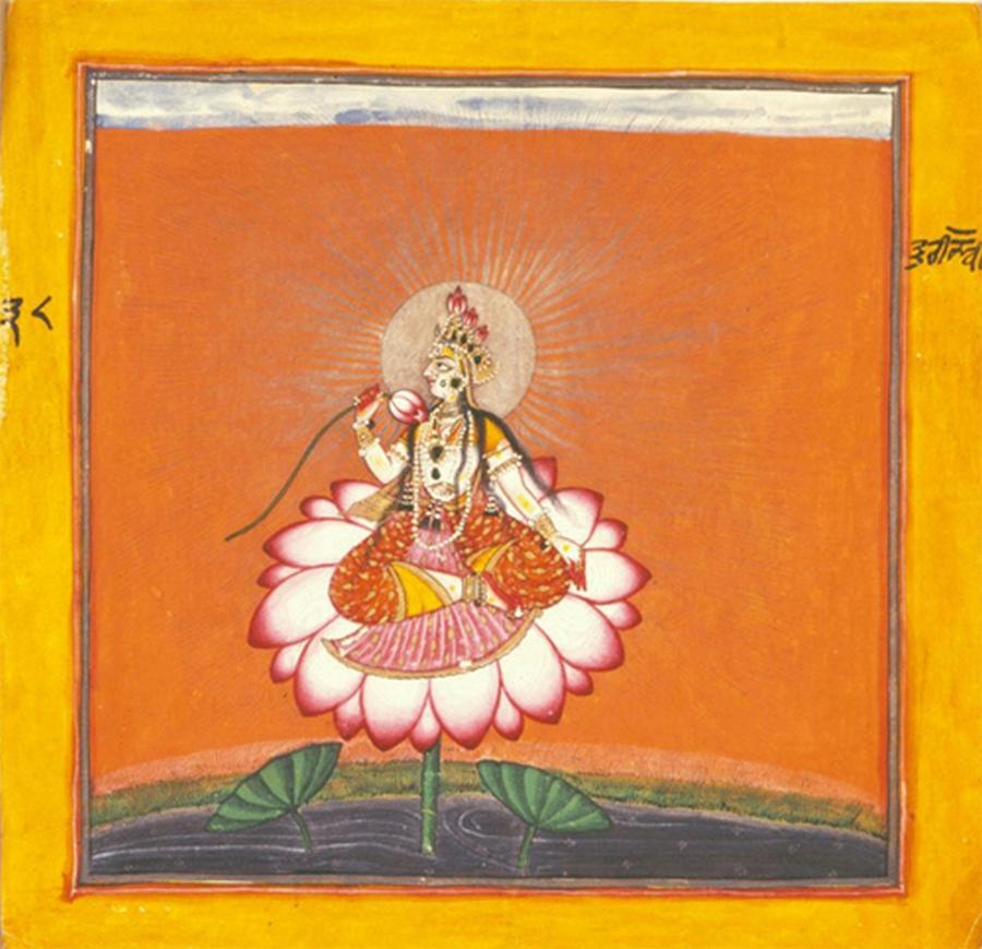 Devi sur le lotus, illustration de la série Tantrique Devi, Basohli ou Nurpur, 1660-70