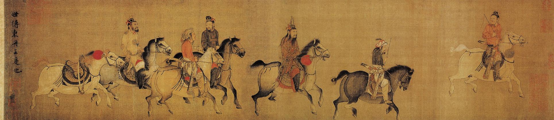 Le roi de Dongdan va de l'avant, couleurs claires sur soie, Li Zanhua