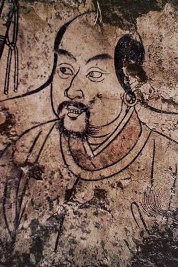Peinture murale d'une tombe représentant un Khitan, bannière d'Aohan, Mongolie-Intérieure