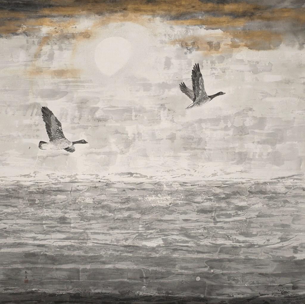 Sur la plage, les oies se posent