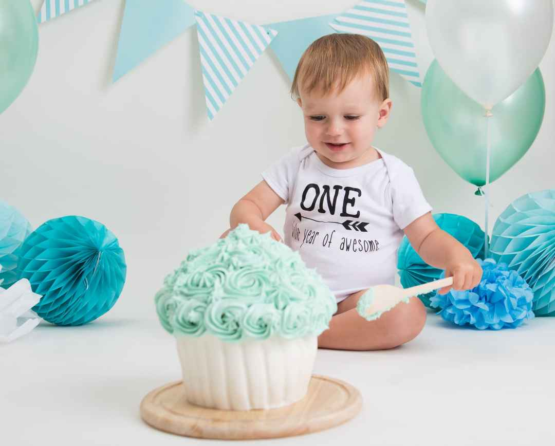 Cake Smash Photography Teal Themed - Portrait Photographer