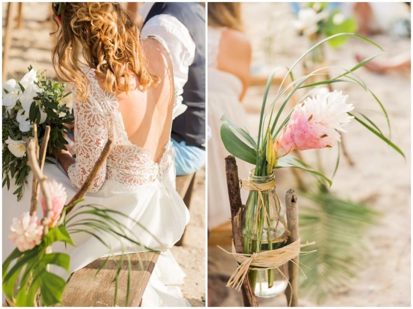 détails mariage lors d'une cérémonie laique sur la plage à la réunion