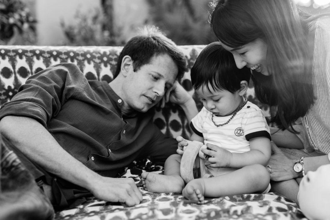 Une photo de famille unie