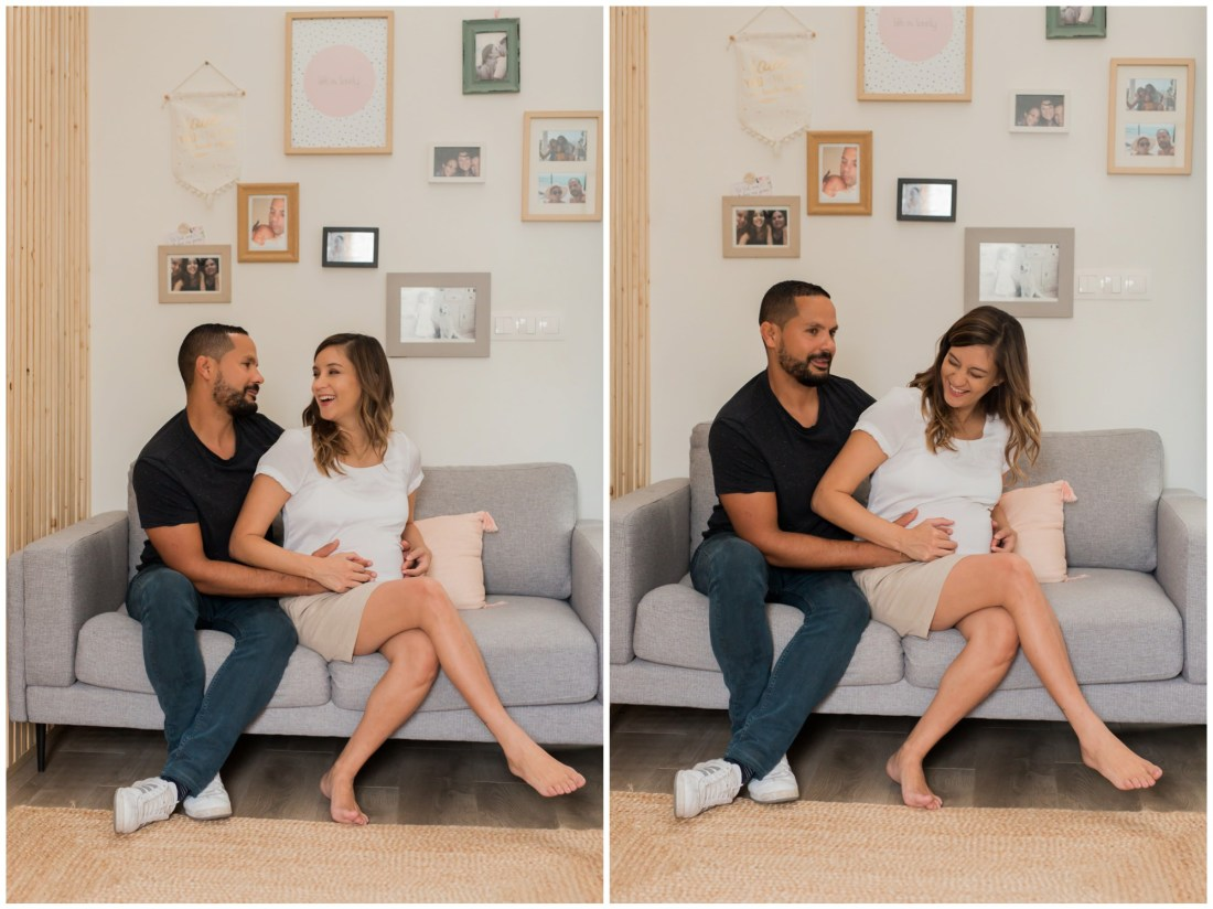 Une séance grossesse à domicile pour des photos fun et naturelles