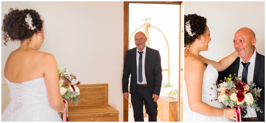Découverte de sa fille en mariée par son papa