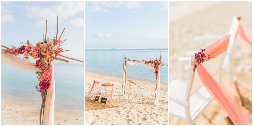 Décoration de cérémonie laïque sur une plage de la Réunion pour le renouvellement de voeux pour 30 ans de mariage