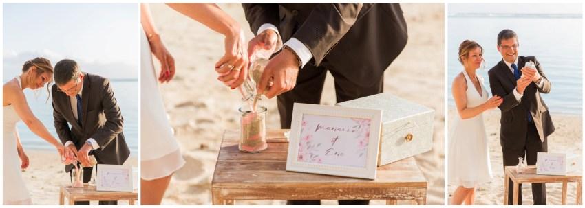 Rituel du sable lors d'une cérémonie de renouvellement de voeux de mariage