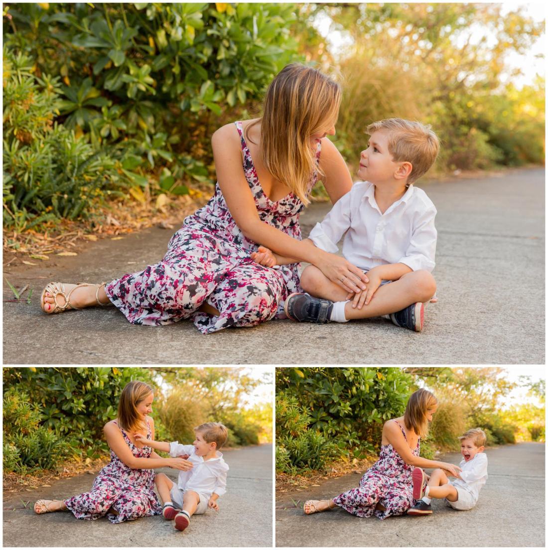 Un enfant et sa maman qui s'amusent lors d'une séance par une photographe de famille à la Réunion