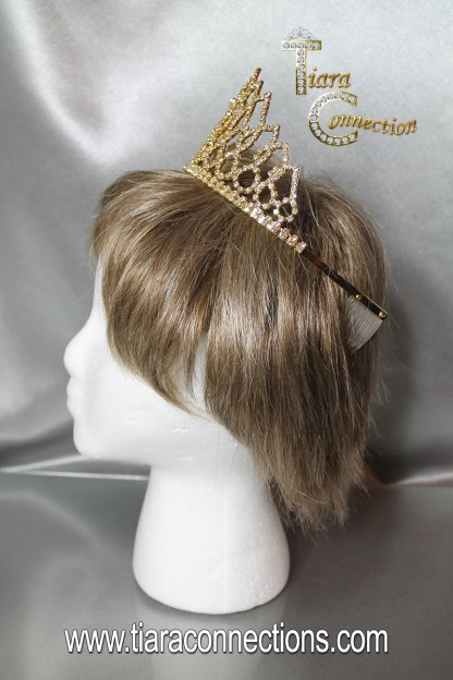 gold tiara on model side view