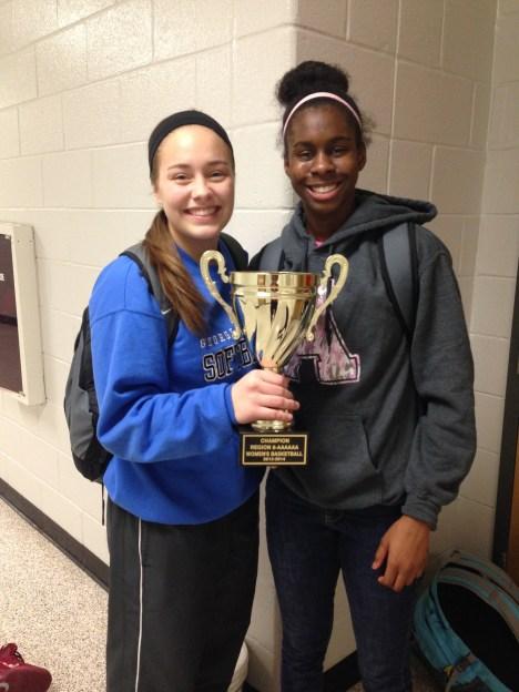 Tia & Kristin with the Region 8 Trophy