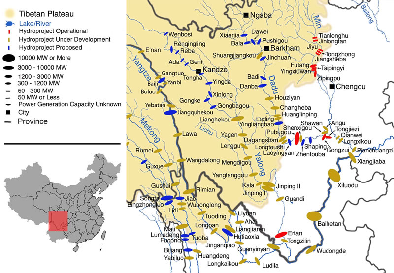 ... cascade of 21 major dams is planned. (Image credit: Meltdown in Tibet