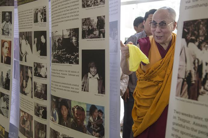 His Holiness the Dalai Lama after inaugurating the photo exhibition ...