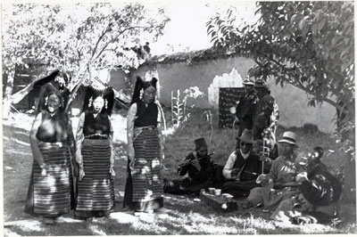 Tibetan women and Lhasa Band at Mission house