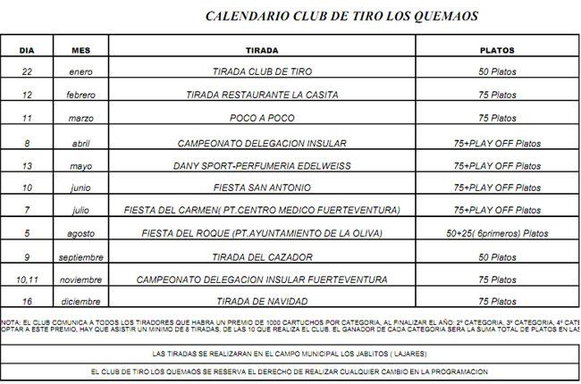 Calendario club de Tiro Los Quemados