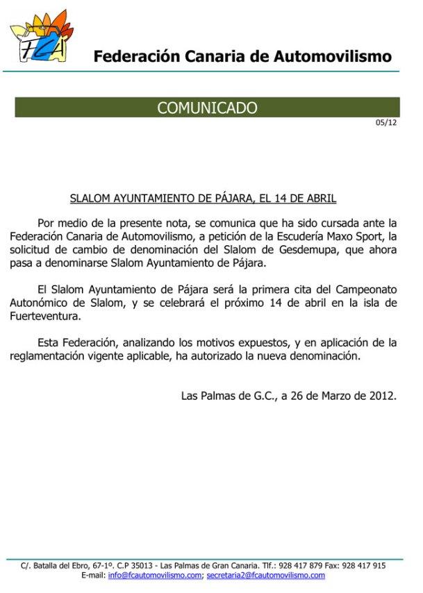 Slalom Ayuntamiento de Pájara, el 14 de Abril