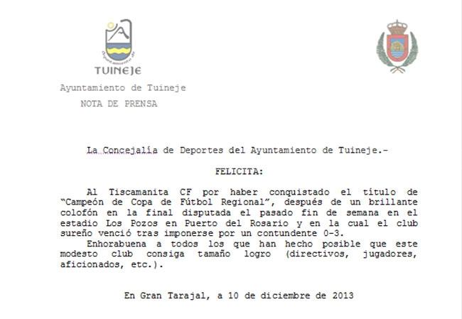 El Ayuntamiento de Tuineje felicita al Tiscamanita C.F.