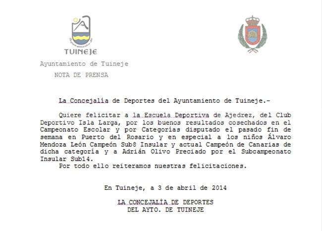 Nota de prensa: Ayto. de Tuineje