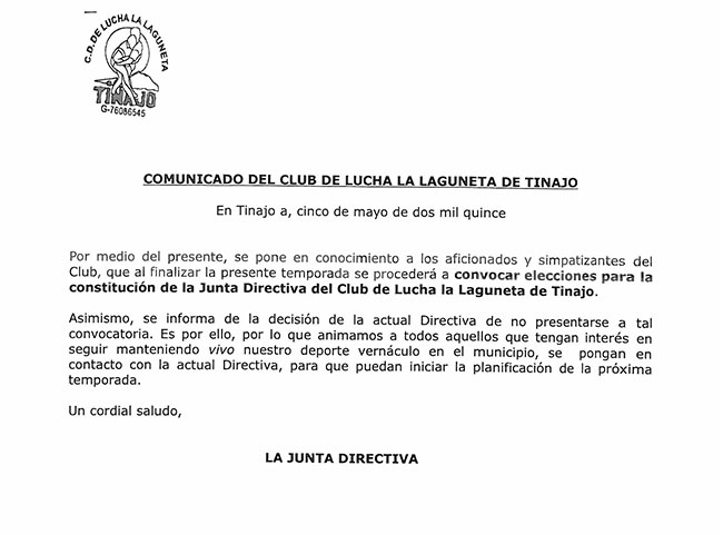 Comunicado del C.L. La Laguneta de Tinajo