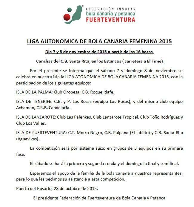Liga Autonómica de Bola Canaria Femenina