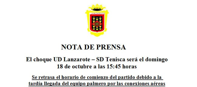Nota de Prensa UD Lanzarote. Horario SD Tenisca