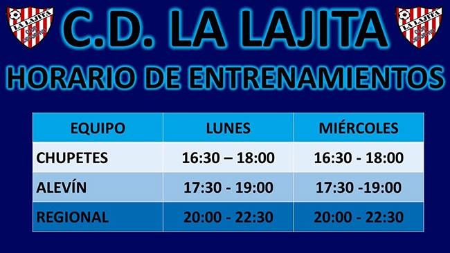 Horario de entrenamientos C.D. La Lajita