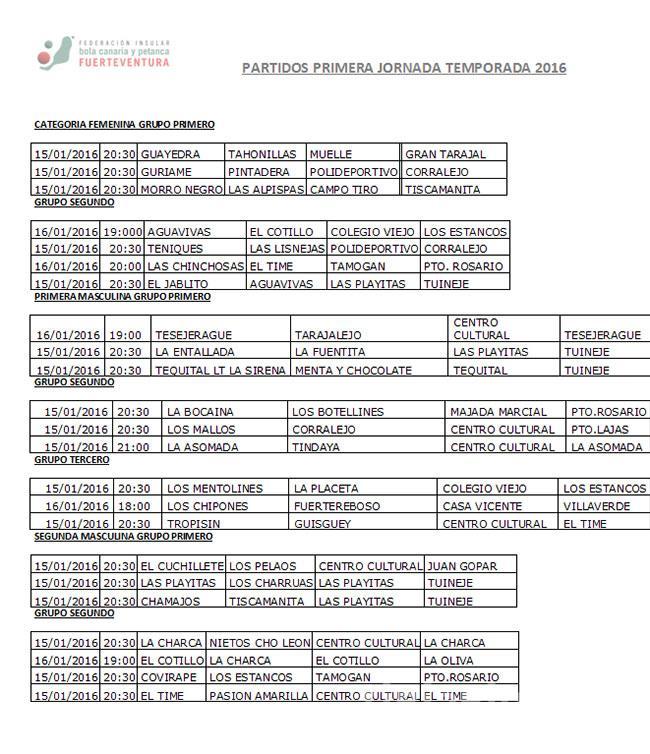 1ª Jornada de Bola Canaria temporada 2016