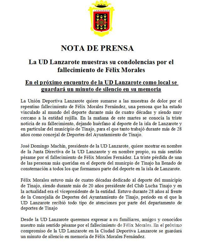 La U.D. Lanzarote muestra sus condolencias por el fallecimiento de Felix Morales