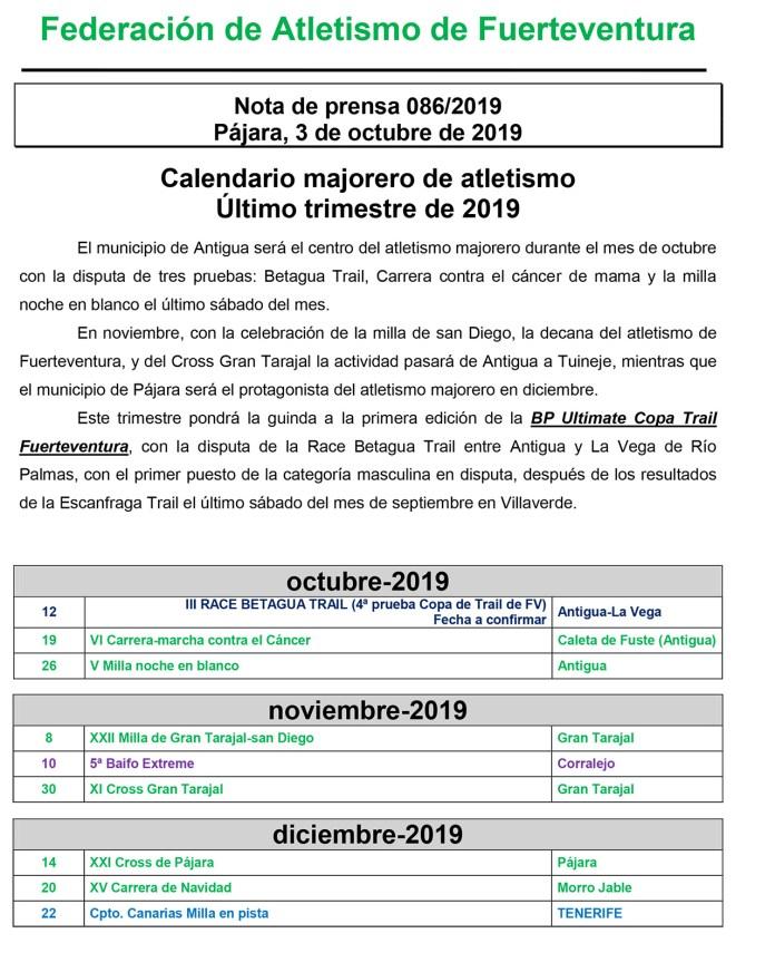 Calendario Majorero Atletismo
