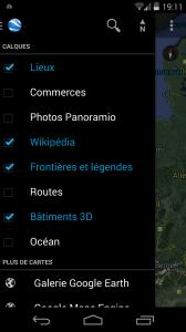Menu Google Earth