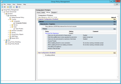 Group Policy Mangement Settings