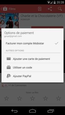 Google Play FIlms - Options de paiement