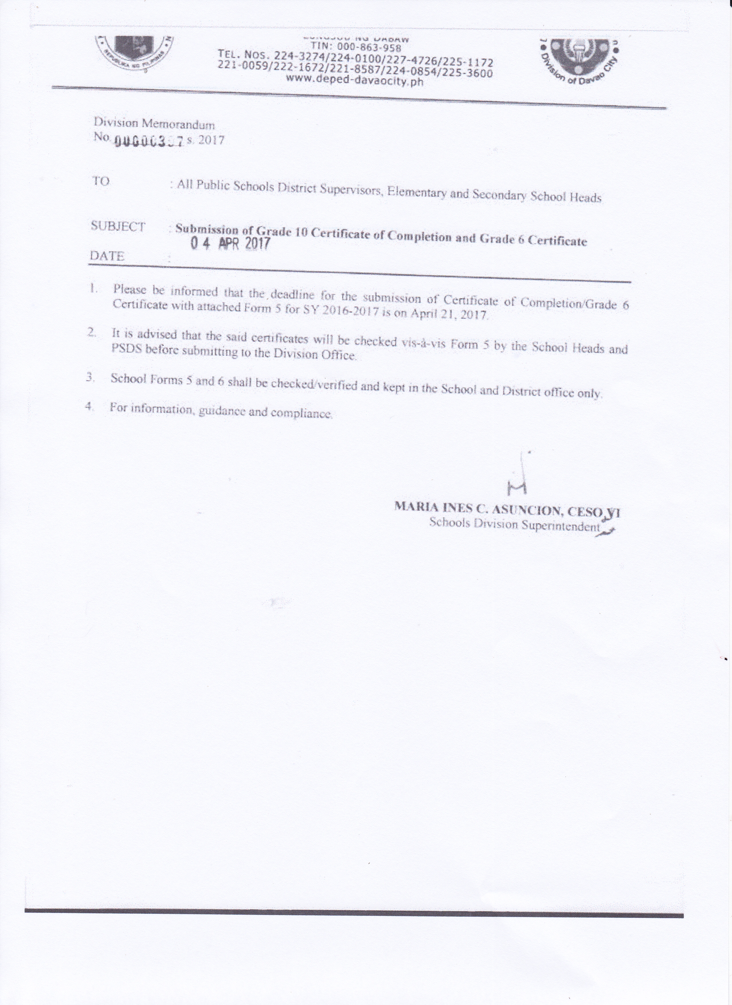 Submission of Grade 10 Certificate of Completion and Grade