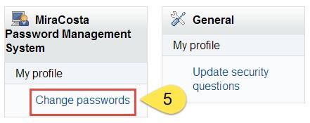 Change Passwords Link