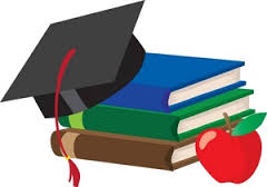 Book graphic with apple and graduation hat