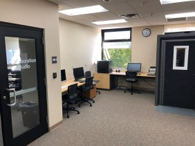 Technology Application & Discovery Lab features workstations, scanners, printer, and a soundbooth for high-quality media production.
