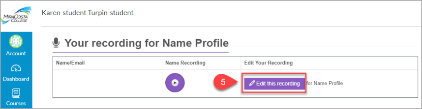 Step 5 Name Coach Rerecord Your Name.