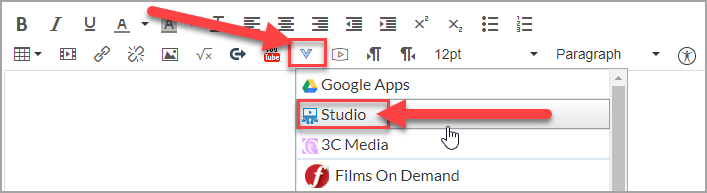 When accessing Studio within the Canvas Rich Content Editor, you'll need to click the More External Tools button (looks like a V) and then select Studio from the List.
