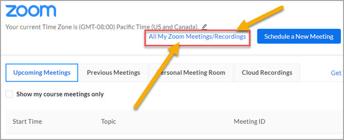 All My Zoom Meetings link in Canvas
