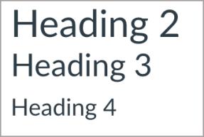 Heading 2 is larger than Heading 3. Heading 3 is larger than Heading 4.