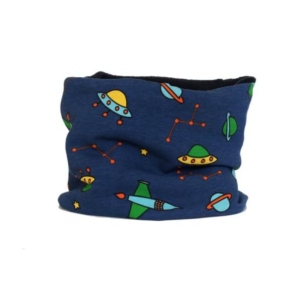 Cuello polar tipo braga Space Rockets en azul. Protege del frío a niños y bebés en invierno.