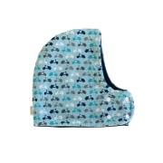 Gorro con bufanda ideal contra el frío con estampado de motos en tonos azules